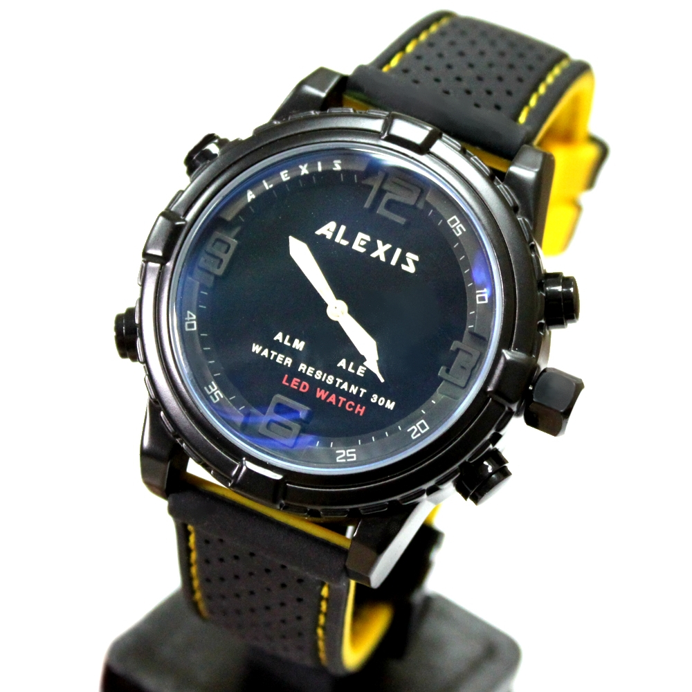 AW801E Stylish Elegant LED Smart Alexis Brand Water Resist 30M Fashion Silicone Black Yellow Band Gent Dual Time Anadigit Watch(China (Mainland))
