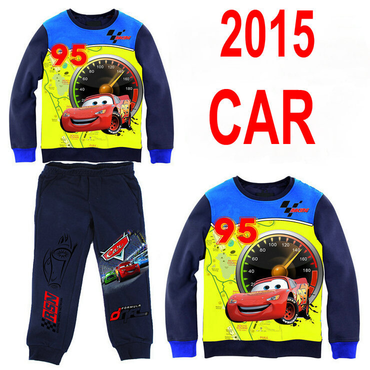 2015 Brand Kids Clothing Sets Clothes Boys Cotton T Shirt +Pants Cars Sport Casual Children's Clothing HY001(China (Mainland))