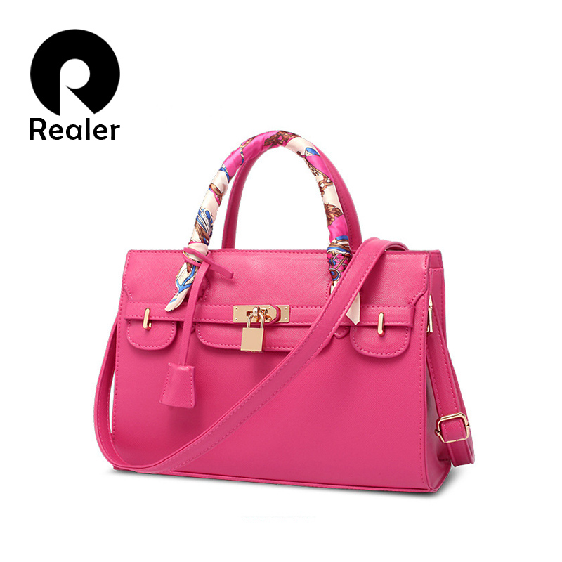 Realer brand women handbag with a scarf&lock, 2016 spring new pink/blue tote bag female shoulder messenger bags(China (Mainland))