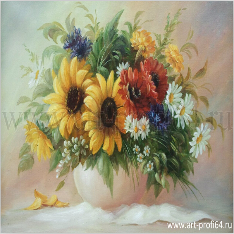 40*50 vintage home decor wall art flower pictures Daisy flowers diy oil painting on canvas picture painting by numbers MS537(China (Mainland))