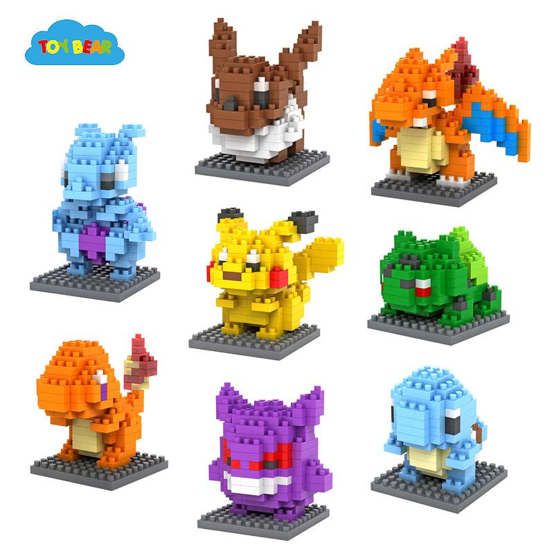 Pokemon Pikachu Bulbasaur Charmander Squirtle Eevee Mewtwo Figures Toys LOZ plastic building blocks Minifigures Best Kids toy(China (Mainland))