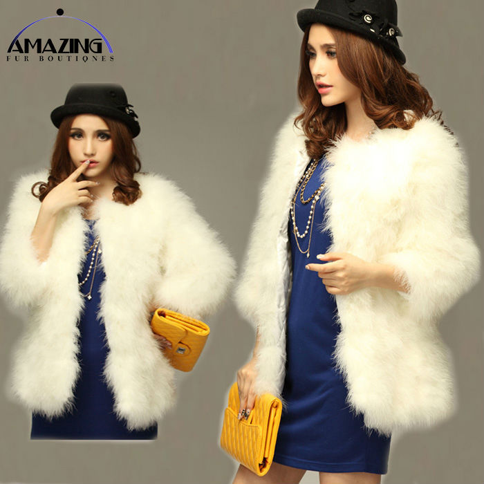 2014 Classical Female Trench Winter Fur Fashion Cardigan Coats Middle Length V-neck Feather Full Sleeve women clothing  -  Amazing Boutique store