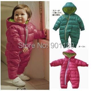 Hot sale winter warm baby outerwear unisex romper cotton padded one piece jumpsuit retail kids coat 6-2yrs