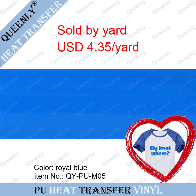 Royal blue PU heat transfer vinyl pu vinyl transfer film sold by yard 5 yards/pack width 18.9inch(China (Mainland))