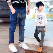 Children's clothing male child jeans 2016 medium-large child casual long trousers 420kd Splice zipper jeans Spring Fashion boy(China (Mainland))