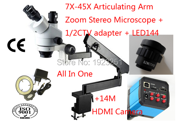 Best Sale,7X-45X Articulating Arm Zoom Stereo Microscope-trinocular with table clamp+14M camera+LED 144 microscope ring light(China (Mainland))