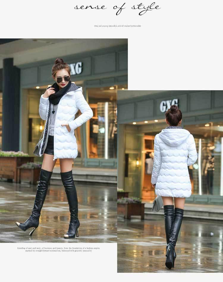 Yeni 2016 Casacos Feminino Rahat Moda Kış Ceket Kadın Artı Boyutu Ince Outdoors Kapşonlu kadınların Beyaz Ceket Ceket dy0066