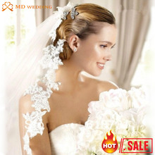 2015 Real Photos White Ivory Wedding Veil 3m Long With Comb Lace Mantilla Bridal Veil Wedding Accessories Veu De Noiva MD3030(China (Mainland))