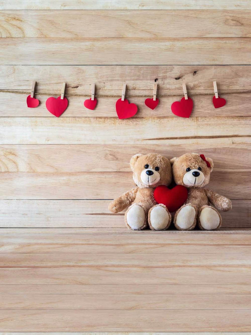 Wood Photography Backdrop 5x7 Small Red Heart Teddy Bear Background for Kids Birth Party Photography Photo Booth for Newborn(China (Mainland))