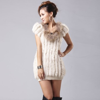 Furstory 020138 New womens' long Knitted Real rabbit fur vest with raccoon fur collar unique hollow out design in-fashion
