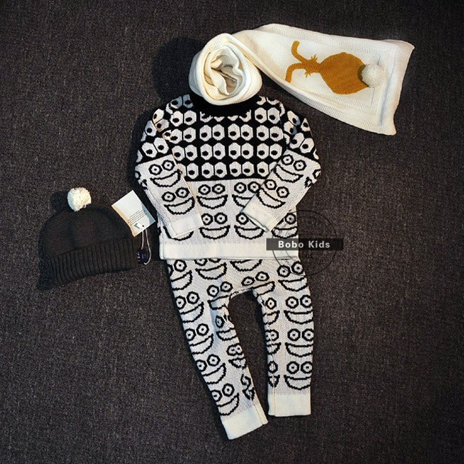Скидки на BBK Осень зима Мальчики и девочки очаровательны хлопок Одежда Набор Костюм Топ Свитер Брюки детская Одежда Свитера согреться дети