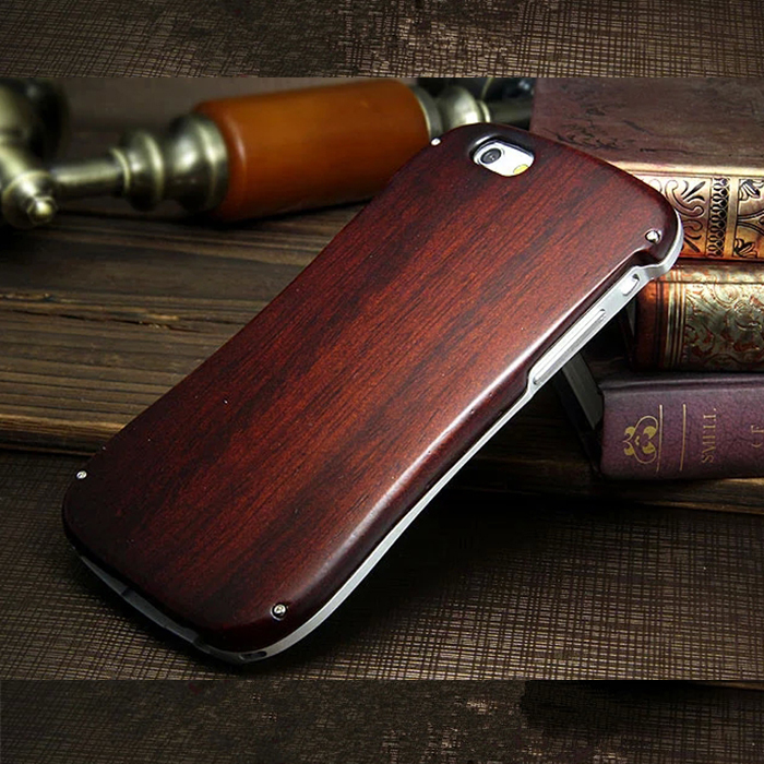 For IPhone 6 Wood / Bamboo Case Neo hybrid Aluminum Metal Frame + Woode / Bamboo Back Cover funda for IPhone 6 Phone Bag case(China (Mainland))
