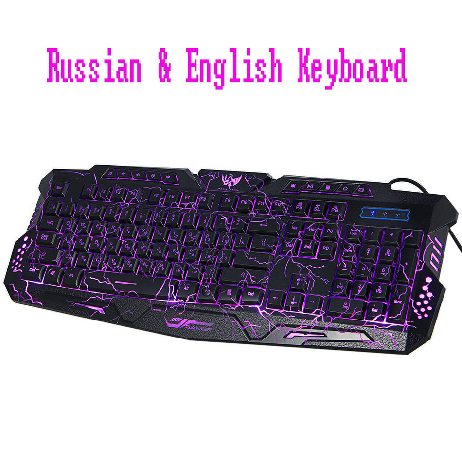 2016 Russian English Bilingual USB Gaming keyboard with 3 Backlight Modes 19 Keys Conflict-free for computer DOTA 2 LOL Limited(China (Mainland))