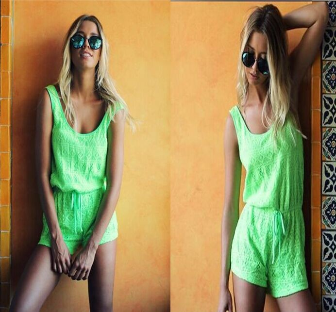Hot!  2015 Women Strap Sleeveless Bandage Jumpsuit Rompers Playsuit Hollow Out Casual Jumpsuit Camp Light Green Rompers QJ5004