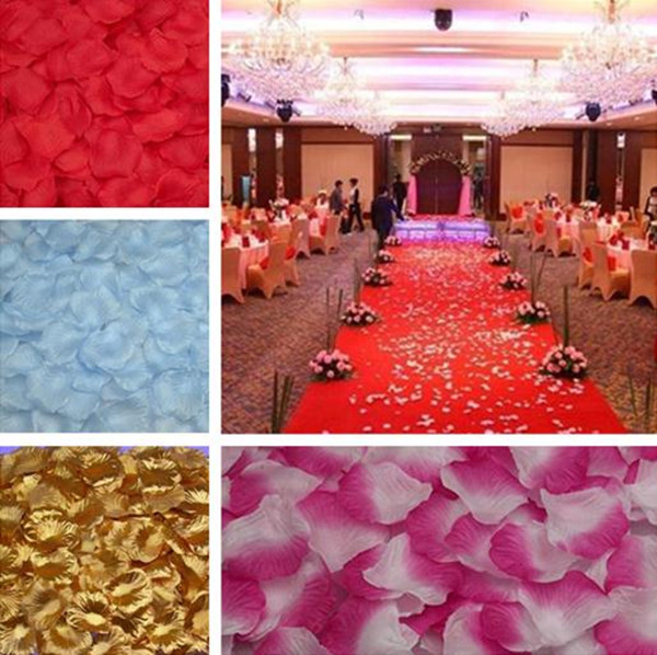 Top quanlity Silk RoseFlowers Petals 500pcs Flower Petals Leaves Wedding Table Decorations Event Party Supplies Confetti Wreaths(China (Mainland))