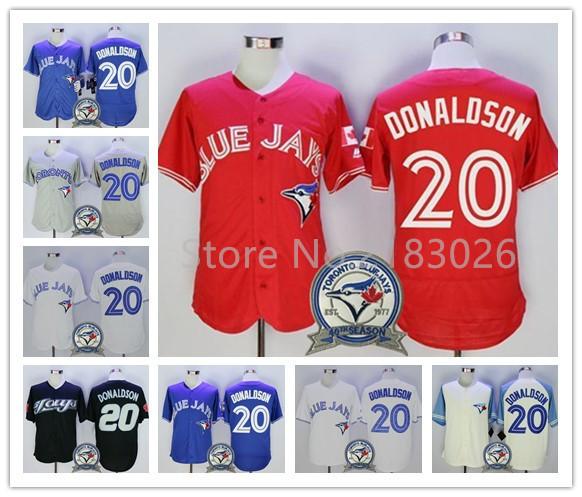 High Quality Baseball Jerseys Toronto Blue Jays 20 Josh Donaldson Shirt Blue/White 40th Anniversary Patch New Stitched Jerseys(China (Mainland))