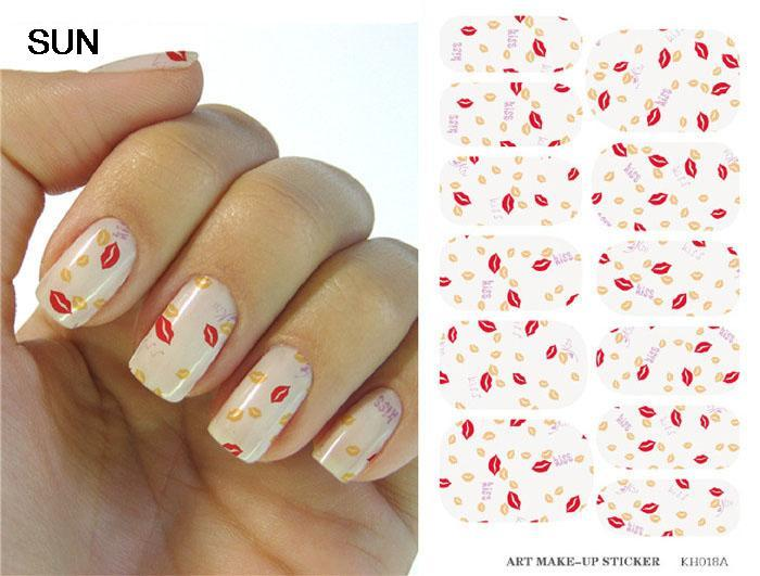 Fashion Sun Nail Design Water Transfer Foil Nails Art Sticker Sexy Red Lips Decor Manicure Sticker Minx Nail Wraps Decals(China (Mainland))