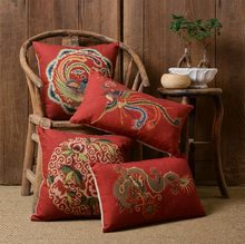 Free Shipping!!Oriental luxury red Loong phoenix square throw pillow/almofadas case,chinese florid cushion cover home decore(China (Mainland))
