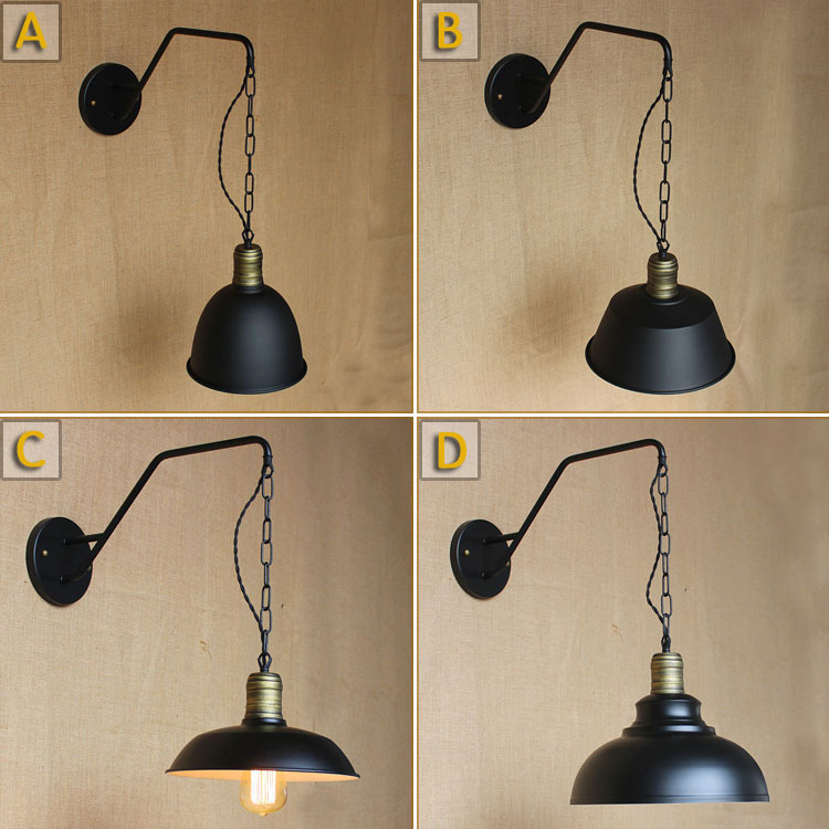 Contracted Creative Wall Lamp Iron Industrial Lamp With Chain Hoist The Living room Light bedroom wall lamp Free Shipping<br><br>Aliexpress