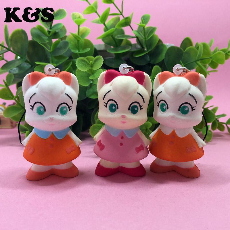 Small Fox Girl Kawaii Squishy Cartoon 6cm 20pcs/lot Mobile Phone Strap phone Charm Cute Squishies Wholesale Lot Toy Clearance(China (Mainland))