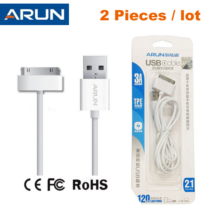 High Quality 2pcs/lot ARUN 30 Pin USB Data Cable for iPhone 4 / 4S Charging Cable For iPad 1 / 2 / 3 With Retail Packing(China (Mainland))