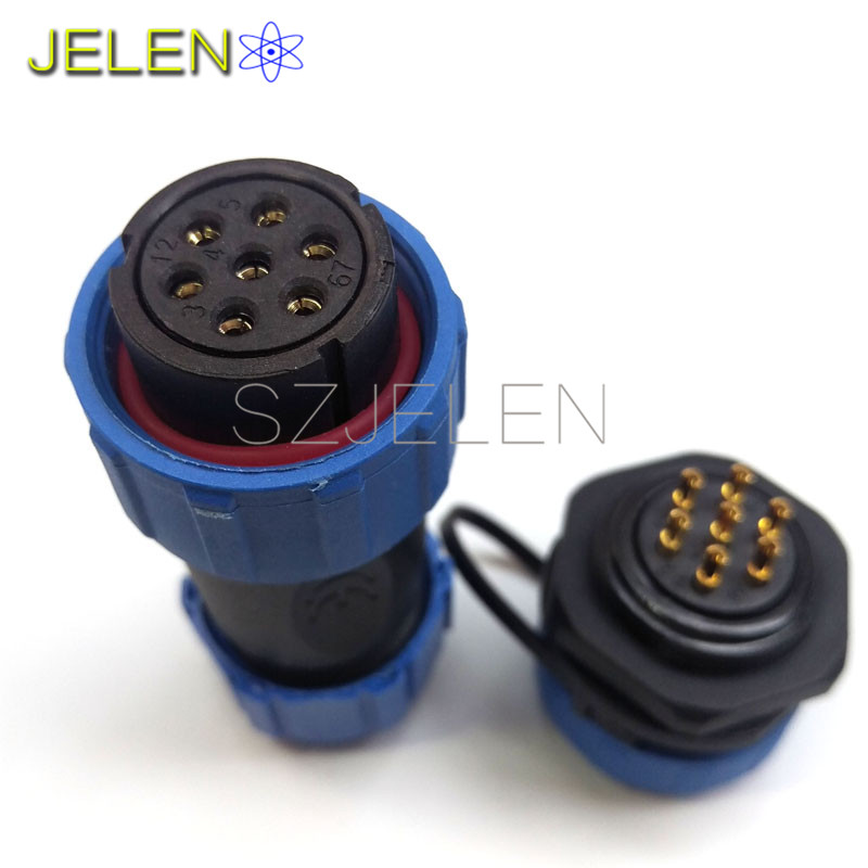 SP2110, Male and female 7 pin connector waterproof ,Robot power connector 7 pin, dust cover, waterproof and dustproof connector(China (Mainland))