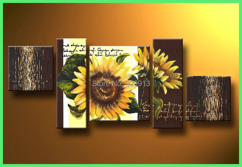 Framed 5 Panel Large Sunflower Kitchen Decor Ideas Flower