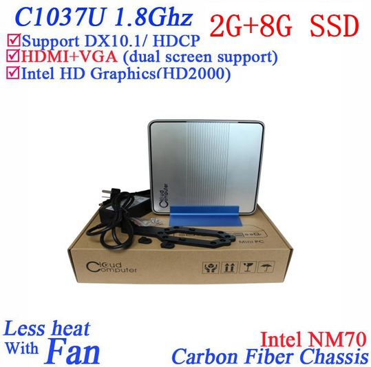 Promotional mini itx server with Intel Celeron 1037U dual core 1.8Ghz windows or linux 2G RAM 8G SSD HD Graphics L3 2MB Mini PC(China (Mainland))