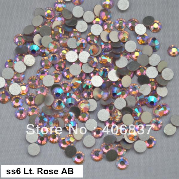 Free Shipping! 1440pcs/Lot, ss6 (1.9-2.1mm) Light Rose AB Flat Back Nail Art Glue On Non Hotfix Rhinestones(China (Mainland))