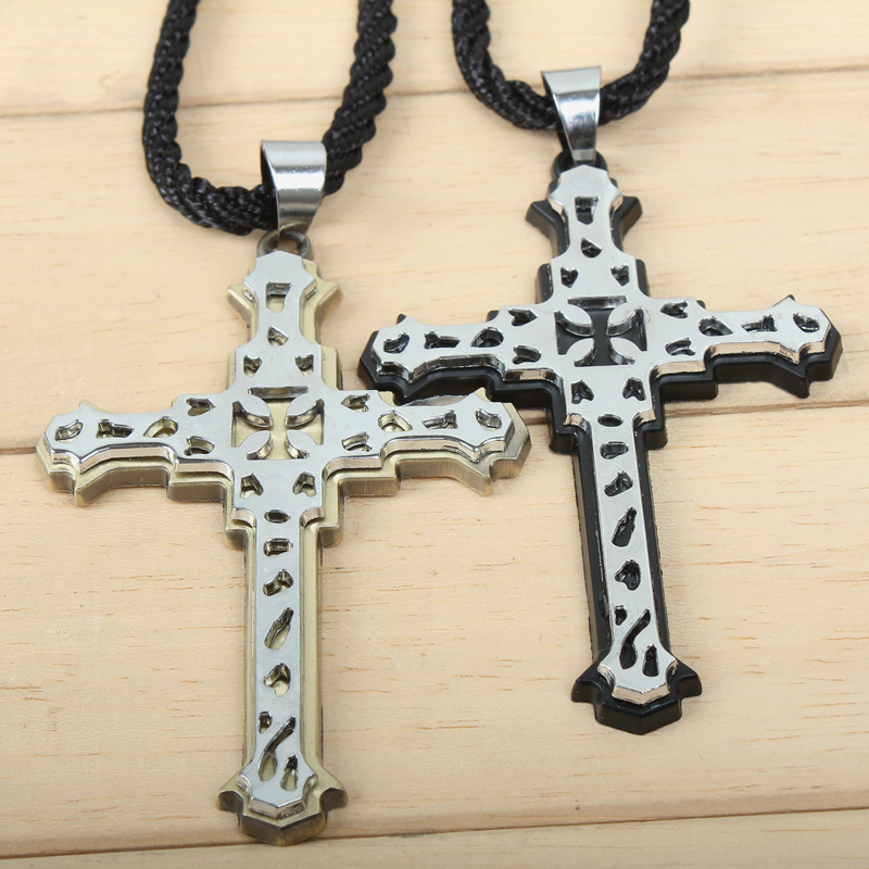 New arrival Cross series vintage double layer cross cutout carved male necklace Men's/Boys's jewelry party accessories wholesale(China (Mainland))