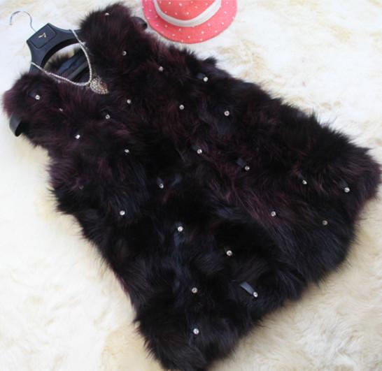 Fur female autumn and winter medium-long 2013 fur vest raccoon fur vest fur coat vest overcoat