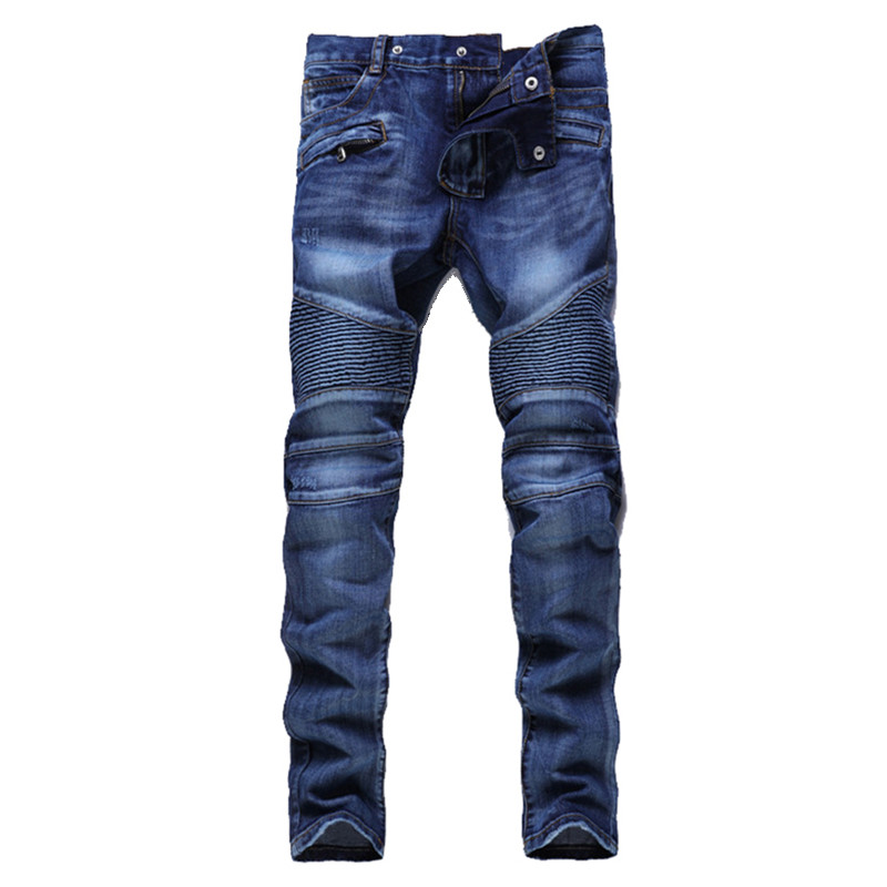 Hip Hop Mens Motorcycle Jeans Blue Slim fit Biker Jeans ...