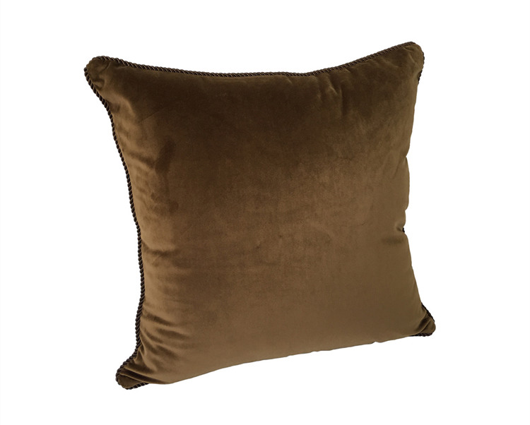 Solid Chocolate Dull Velvet Cushion Cover Rope Pipping Decorative Square Pillow Case 45 X Cm Sell By Piece