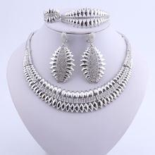 Mode Frau Halskette Ohrring Äthiopischen Schmuck Trendy Dubai Indische Silber Überzogen Hochzeit Schmuck-Set(China)