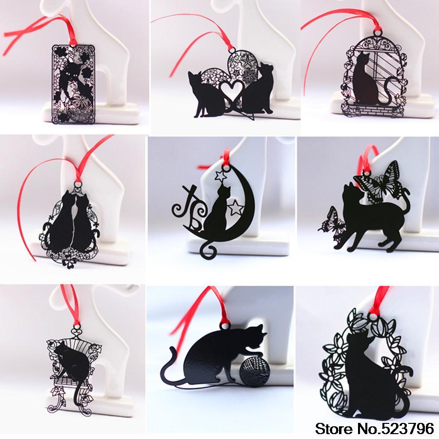 Wholesale 9 designs Lovely \u0026 Creative black cat series iron bookmark / flowers Book marks / metal bookmark-9 designs choose(China (Mainland))