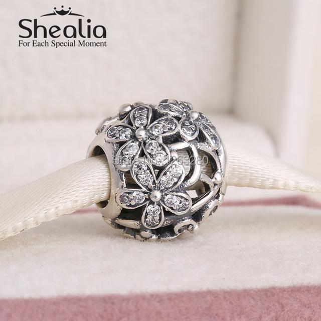 Весна коллекция аутентичные 925 чистое серебро вымощает маргаритка подвески-талисманы с прозрачный циркон подходит своими руками браслеты SH0617