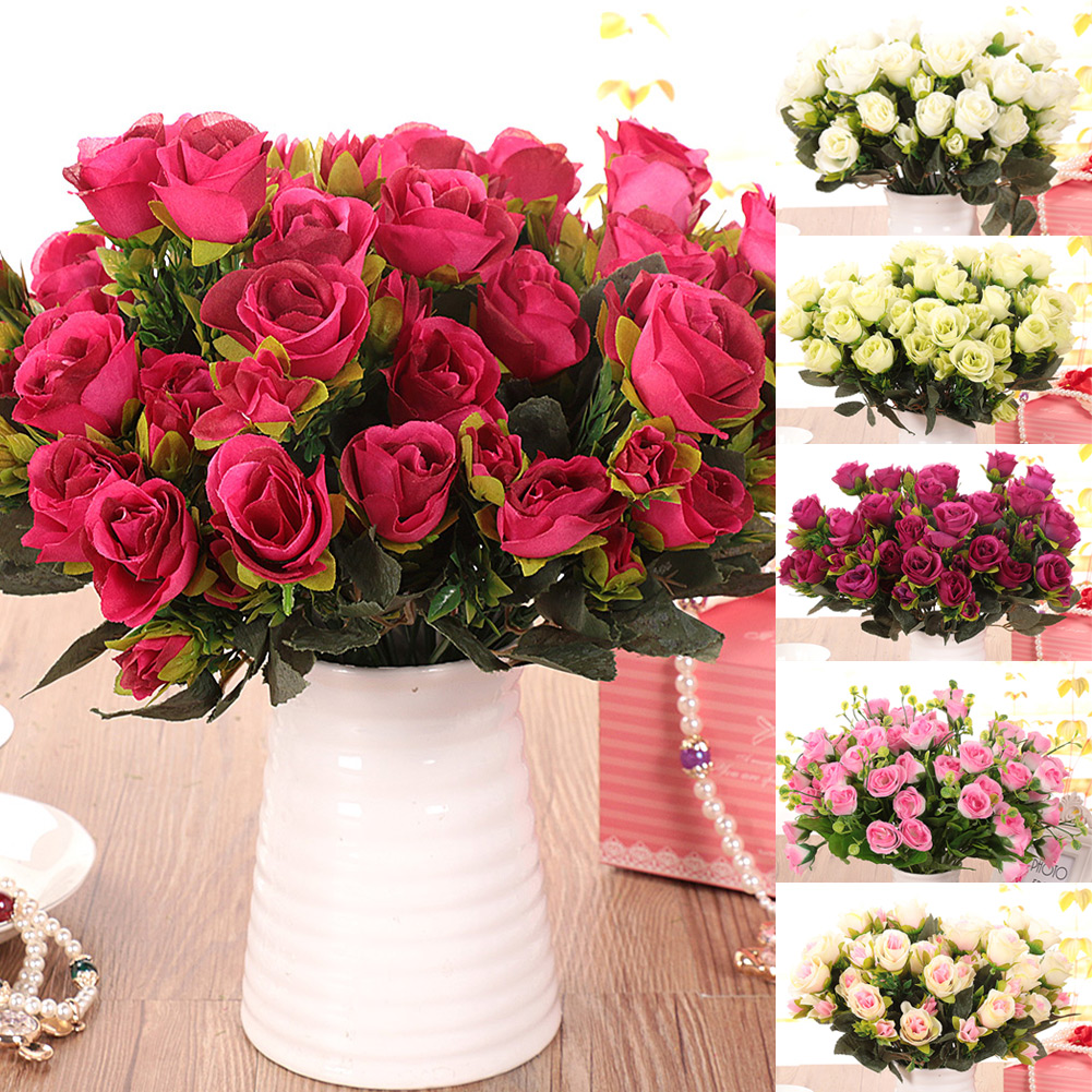 New pretty charming artificial flowers silk brazil rose for Artificial flower for wedding decoration