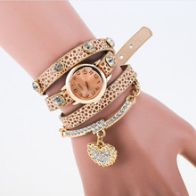 Hot Sale Korean Fashion Girls Bracelet Watch Diamond Love Retro Leather Wristwatch Women Metal Bracelet Watches Woman Pulseira