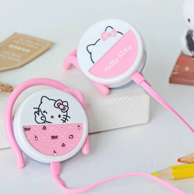 Universal 3.5mm Cartoon Hello Kitty Earphone Headphone Headset With Ear Hook For iPhone Samsung MP3 MP4 Cheapest Earphones(China (Mainland))