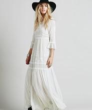 2016 new free shipping Bohemia embroidery maxi dress women's white ruffles elegant sweet long loose dress fashion party dresses(China (Mainland))