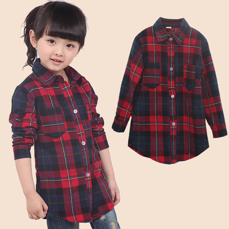 2015 New 2-12 Years School Girl Blouse Cotton Shirts Spring & Autumn Fashion Girl Long Sleeve Shirt Children Kids Clothes C05