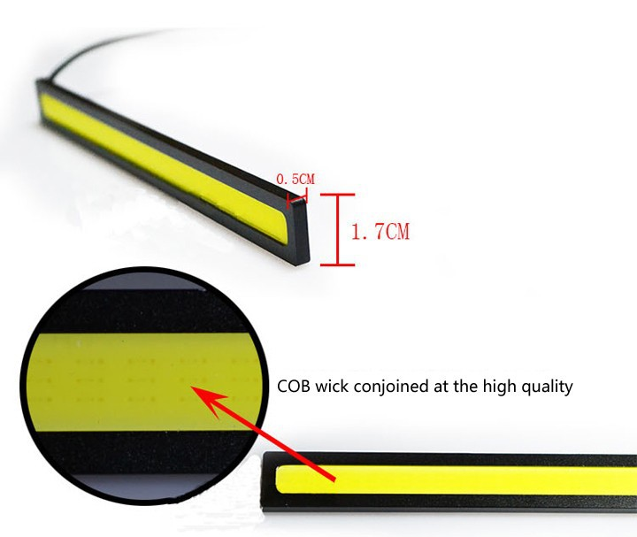 1pcs 17cm 12V Ultra-thin COB Chip LED Car Auto DRL Daytime Driving Running Fog Light Lamp