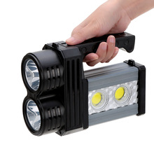 Blue&White Light Night Fishing Searchlight Rechargeable 60W 4 LEDs 6600mA Spotlight With Strip Flashlight+Table Lamp+Power Bank(China (Mainland))