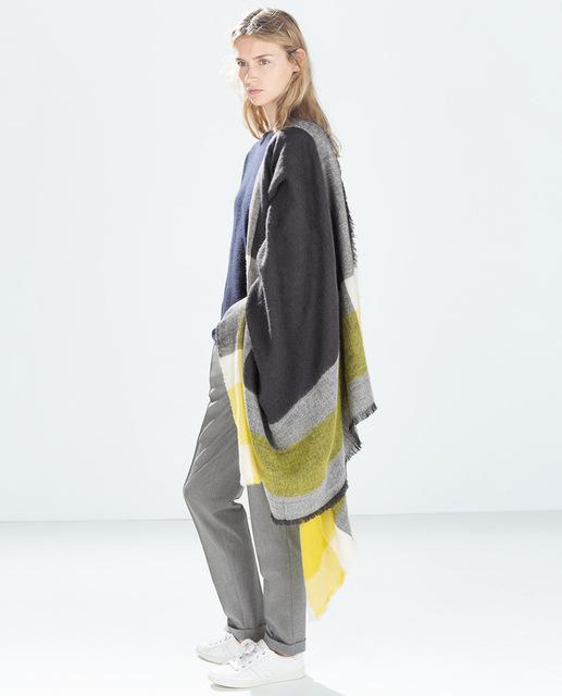 2016 новый желтый и черный клетчатый шарф платок кашемир текстура теплая зима в европе и америке ветер N102