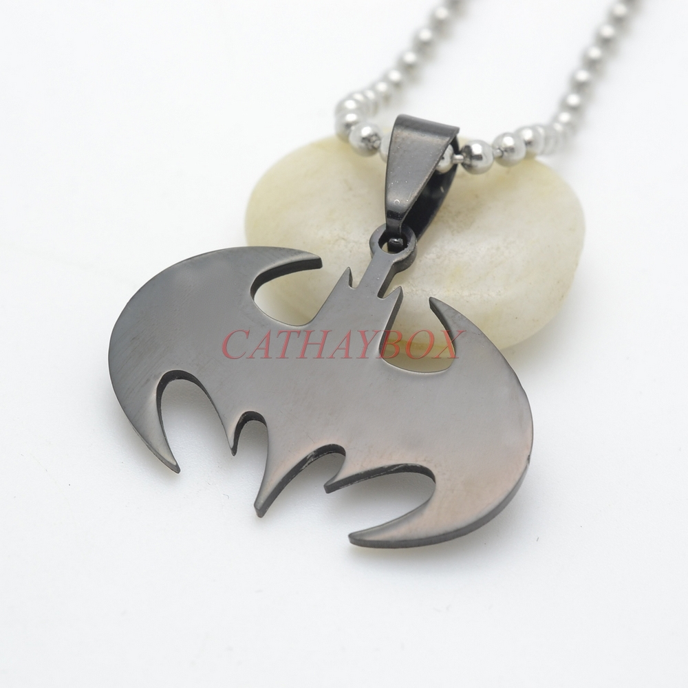 Black Stainless Steel Flying Bat Charm Pendant Necklace W/O SS Chain 50CM Long(China (Mainland))