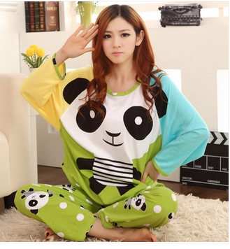 1 Set Womens spring cotton cartoon long sleeve+pants lovely leisurewear suit / lady's plus size Sleepwear Pajamas Dropshipping - fashion shoes and clothes suppliers store