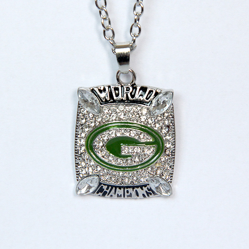 2015 Wholese price for scrystal jewelry 2010 Super Bowl Green Bay Packers Championship Pendant Necklace For Men's Best Gifts(China (Mainland))