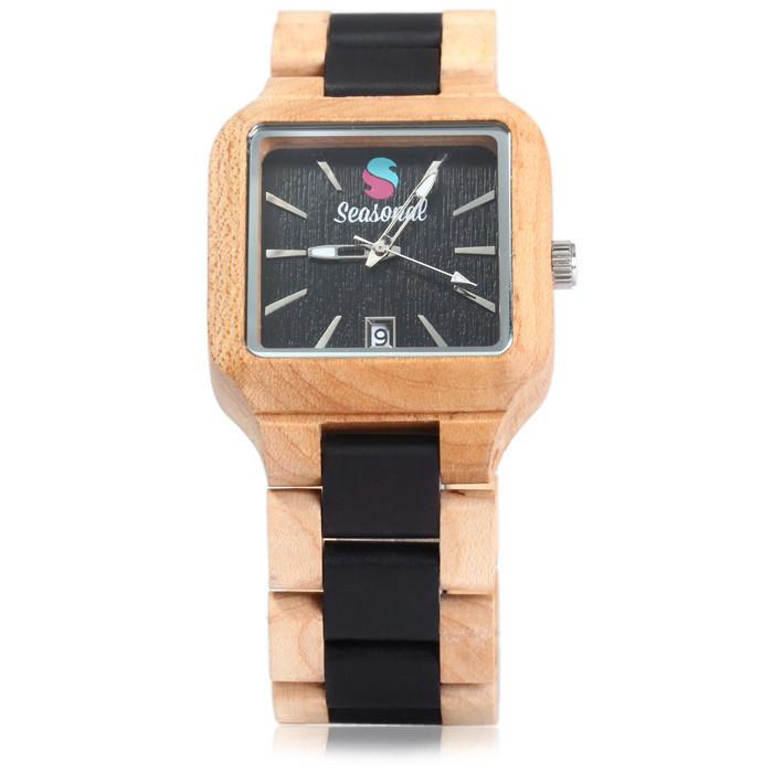Мода Сезонные Мужские Деревянные Часы Бренда Роскошные Часы 2016 Новые Япония Движение Зебрового Дерева Мужчины Большой Наручные Часы с Giftbox