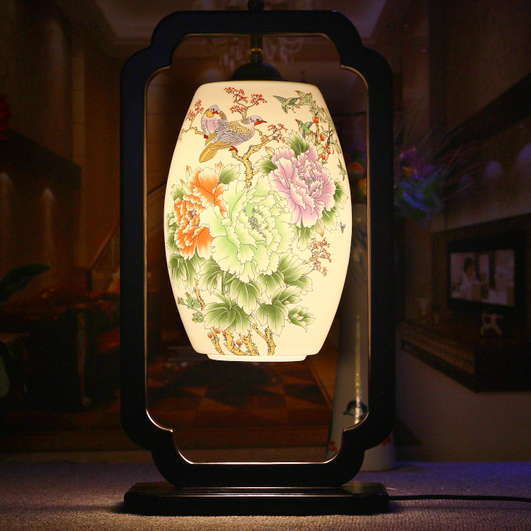 Chinese Style Classical E27 AC 85 265V Bedroom Wooden Flowers Pattern Ceramic Lampshade Table Lamp