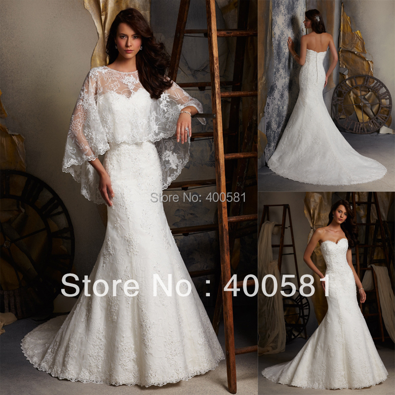 Buy fitted mermaid sweetheart with cape for Wedding dress with cape train